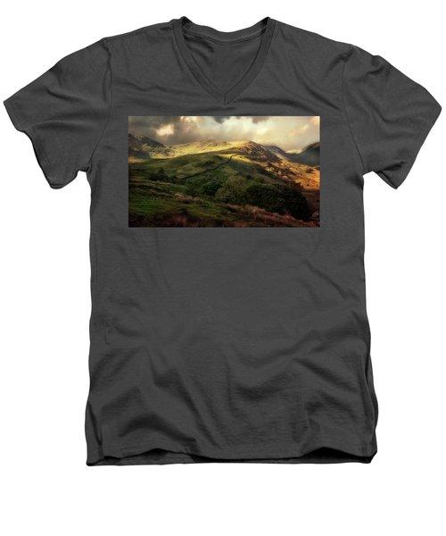 Postcard From Scotland Men's V-Neck T-Shirt by Jaroslaw Blaminsky