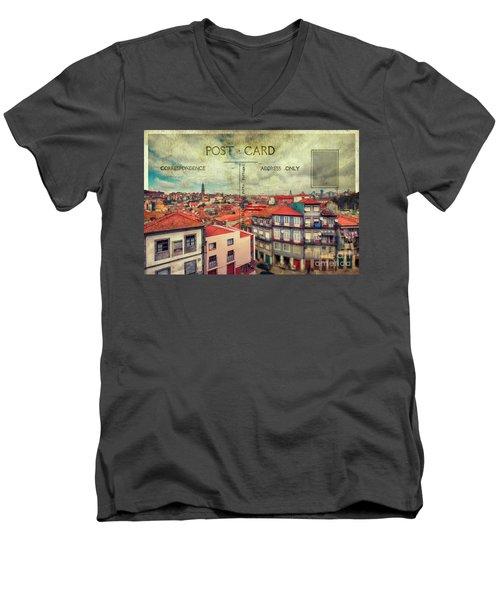 postcard of Porto Men's V-Neck T-Shirt