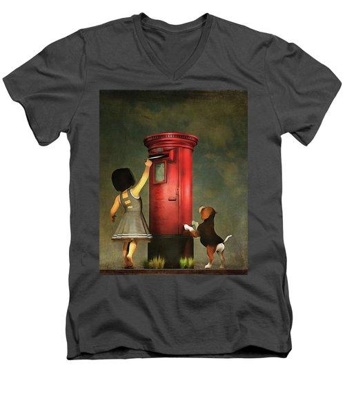 Posting A Letter Together Men's V-Neck T-Shirt