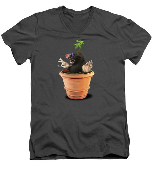 Men's V-Neck T-Shirt featuring the drawing Pot Colour by Rob Snow