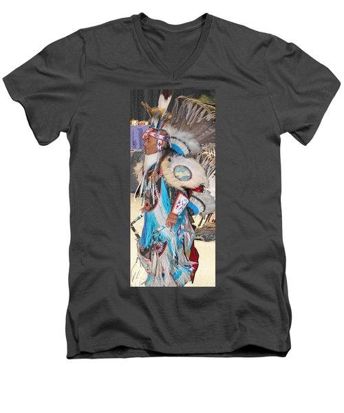 Pow Wow Dancer Men's V-Neck T-Shirt by Audrey Robillard