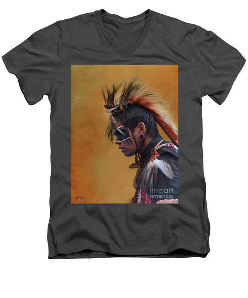 Men's V-Neck T-Shirt featuring the mixed media Pow Wow by Jim  Hatch