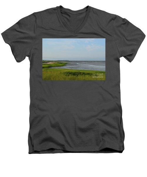 Powder Point Bridge In Duxbury  Men's V-Neck T-Shirt