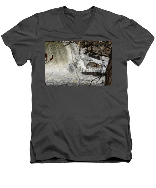 Power Station Falls On Black River  Men's V-Neck T-Shirt