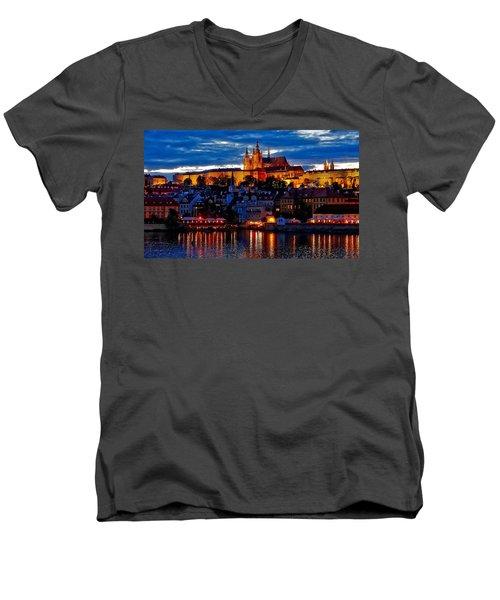 Prague Castle In The Evening Men's V-Neck T-Shirt