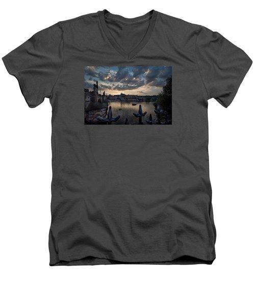 Prague Castle Men's V-Neck T-Shirt by James David Phenicie