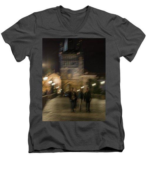Men's V-Neck T-Shirt featuring the photograph Prague Nights by Alex Lapidus