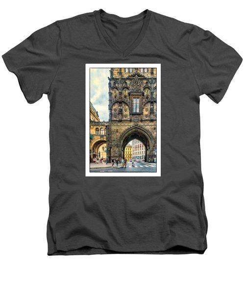 Prague Powder Tower  Men's V-Neck T-Shirt