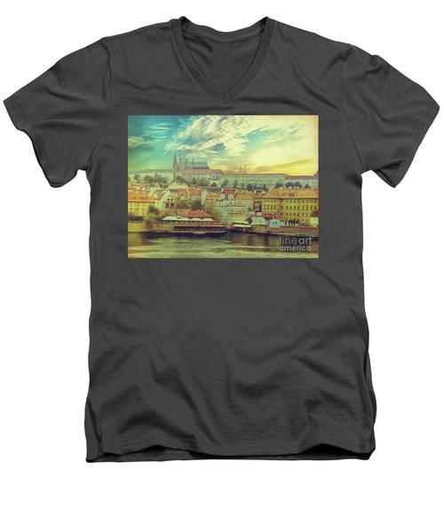 Prague Riverview Men's V-Neck T-Shirt