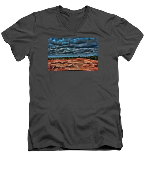 Prairie Dog Town Fork Red River Men's V-Neck T-Shirt by Diana Mary Sharpton