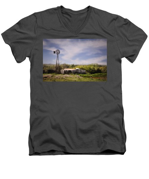 Prairie Farm Men's V-Neck T-Shirt by Lana Trussell