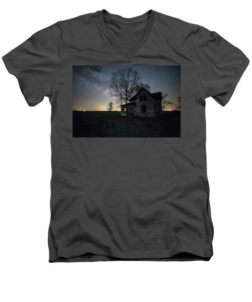 Men's V-Neck T-Shirt featuring the photograph Prairie Gold And Milky Way by Aaron J Groen