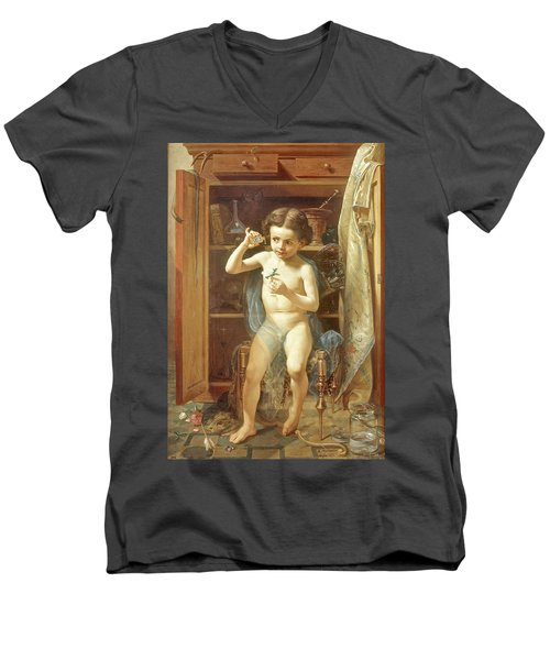 Men's V-Neck T-Shirt featuring the painting Pranks Of Love by Manuel Ocaranza