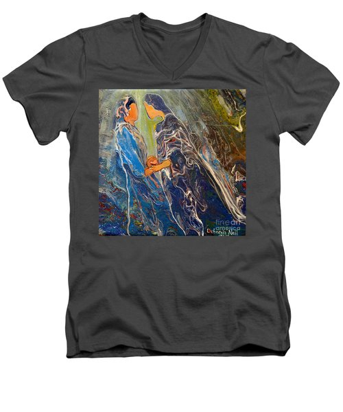 Men's V-Neck T-Shirt featuring the painting Pray For One Another by Deborah Nell