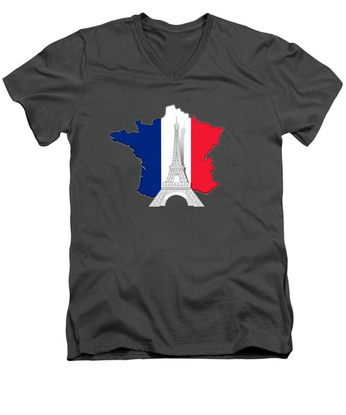 Pray For Paris Men's V-Neck T-Shirt by Bedros Awak