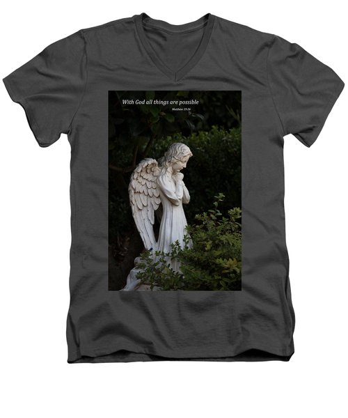 Men's V-Neck T-Shirt featuring the photograph Praying Angel With Verse by Kathleen Scanlan