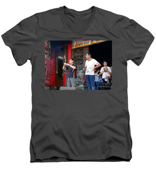 Men's V-Neck T-Shirt featuring the photograph Praying At A Temple In Taiwan by Yali Shi