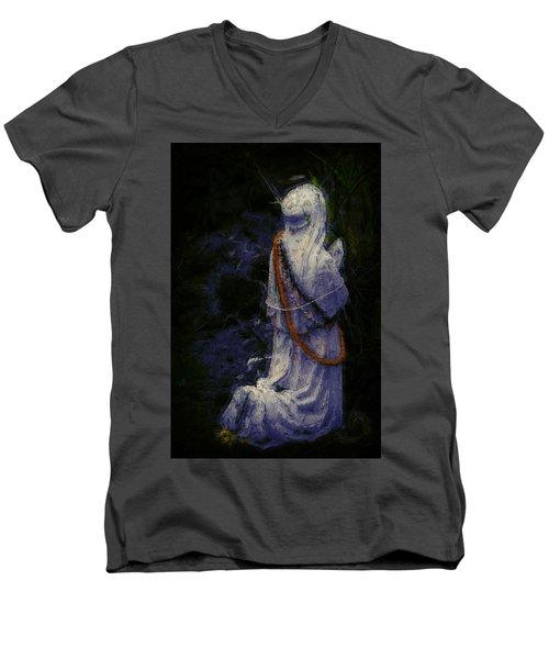 Praying Men's V-Neck T-Shirt by Lori Seaman
