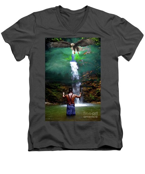 Men's V-Neck T-Shirt featuring the photograph Praying To The Spirits by Al Bourassa