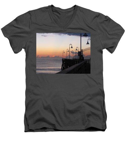Pre-sunrise On Daytona Beach Pier   Men's V-Neck T-Shirt