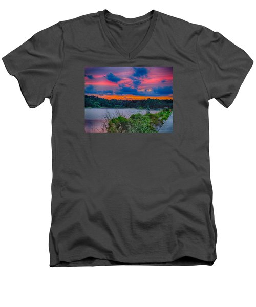 Men's V-Neck T-Shirt featuring the photograph Pre-sunset At Hbsp by Bill Barber