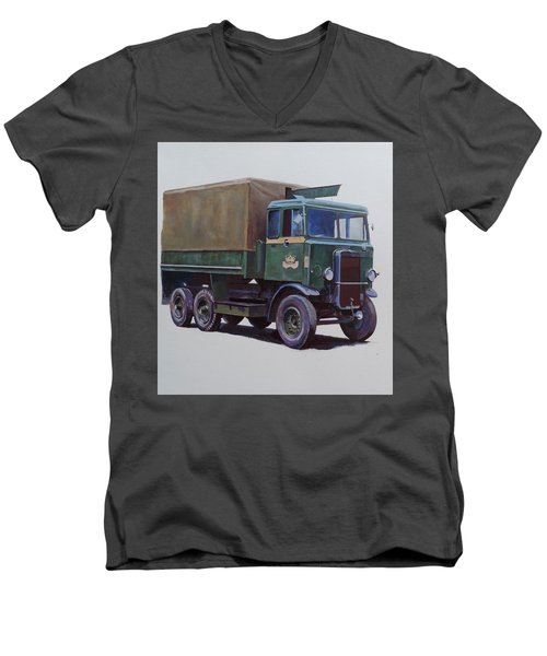 Men's V-Neck T-Shirt featuring the painting Pre-war Leyland Wrecker. by Mike Jeffries