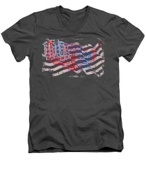 Preamble To The Constitution On Us Map Men's V-Neck T-Shirt by Paulette B Wright