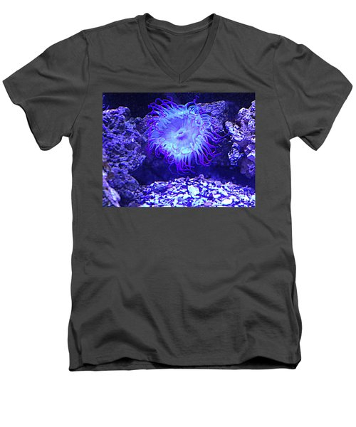 Men's V-Neck T-Shirt featuring the photograph Predatory Terrestrial Sea Anemone by Richard W Linford