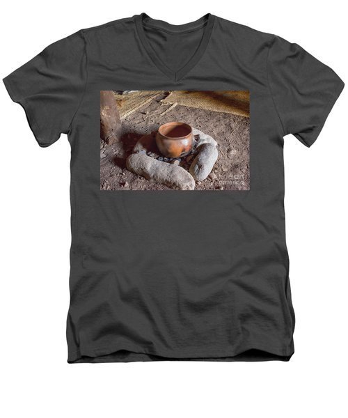 Men's V-Neck T-Shirt featuring the photograph Prehistoric Cooking  by Patricia Hofmeester