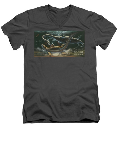 Prehistoric Marine Animals, Underwater View Men's V-Neck T-Shirt by American School