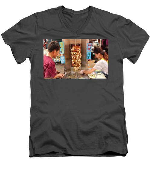 Men's V-Neck T-Shirt featuring the photograph Preparing Shawarma Meat In Bread Buns by Yali Shi