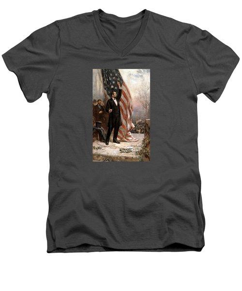 President Abraham Lincoln Giving A Speech Men's V-Neck T-Shirt