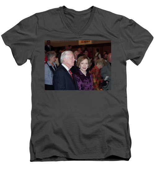 President And Mrs. Jimmy Carter Nobel Celebration Men's V-Neck T-Shirt by Jerry Battle