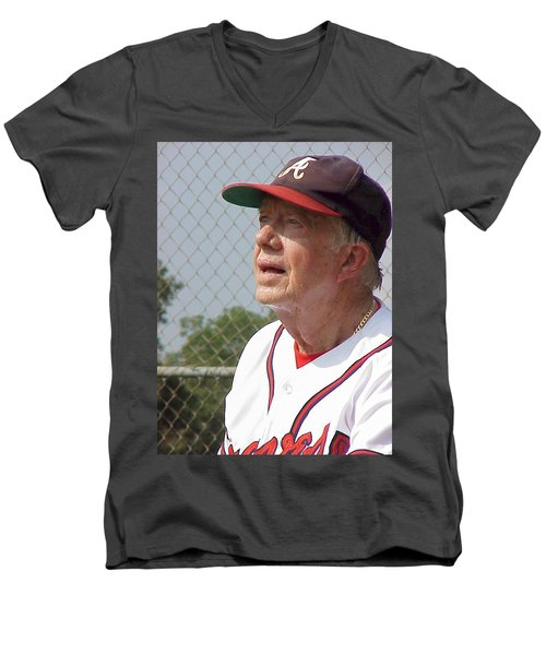 President Jimmy Carter - Atlanta Braves Jersey And Cap Men's V-Neck T-Shirt by Jerry Battle