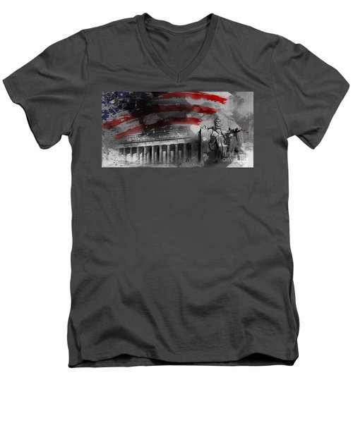 Men's V-Neck T-Shirt featuring the painting President Lincoln  by Gull G