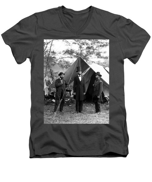 President Lincoln Meets With Generals After Victory At Antietam Men's V-Neck T-Shirt by International  Images