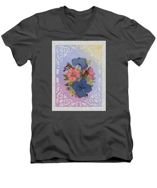 Pressed Flowers Arrangement With Pink Larkspur And Hydrangea Men's V-Neck T-Shirt