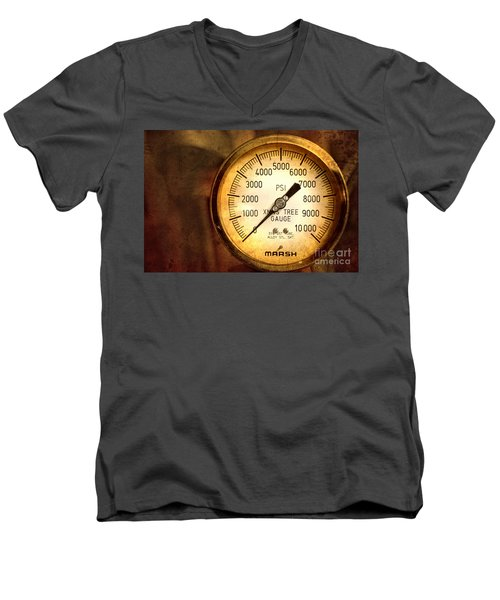 Men's V-Neck T-Shirt featuring the photograph Pressure Gauge by Charuhas Images
