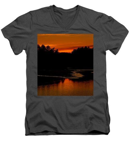 Presumpscot Sunset No.101 Men's V-Neck T-Shirt by Mark Myhaver
