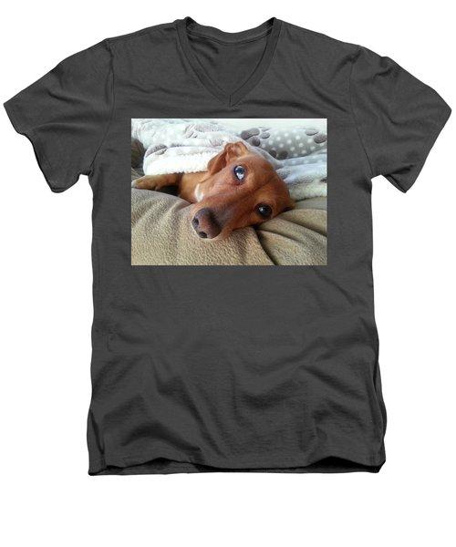 Pretzel By Chera Men's V-Neck T-Shirt by John Loreaux
