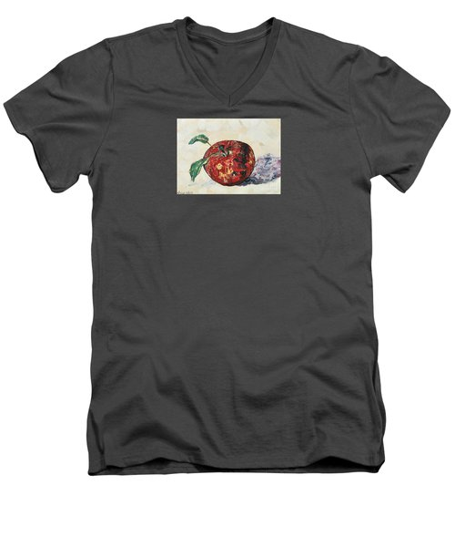 Men's V-Neck T-Shirt featuring the painting Pretty Apple by Reina Resto
