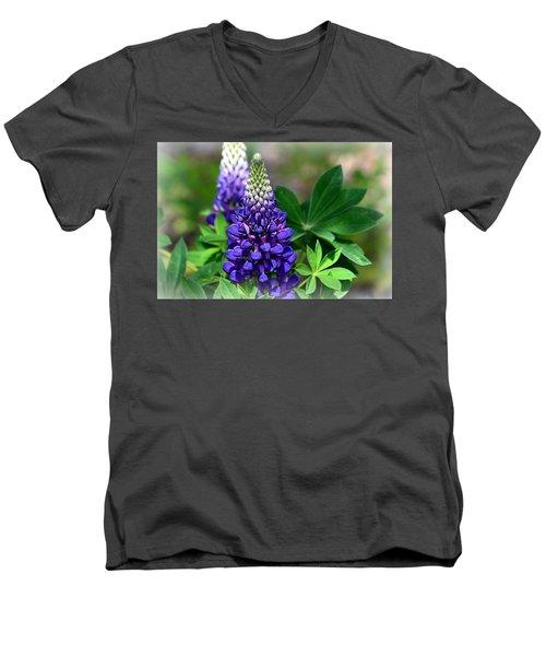 Pretty In Purple Men's V-Neck T-Shirt by Clarice  Lakota