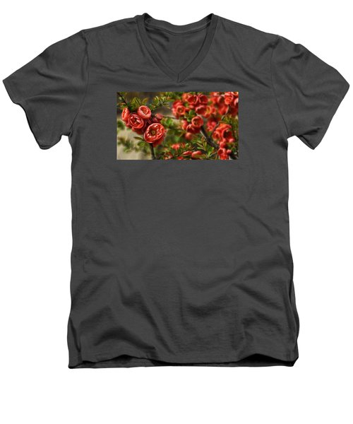 Men's V-Neck T-Shirt featuring the photograph Pretty In Red by Cameron Wood