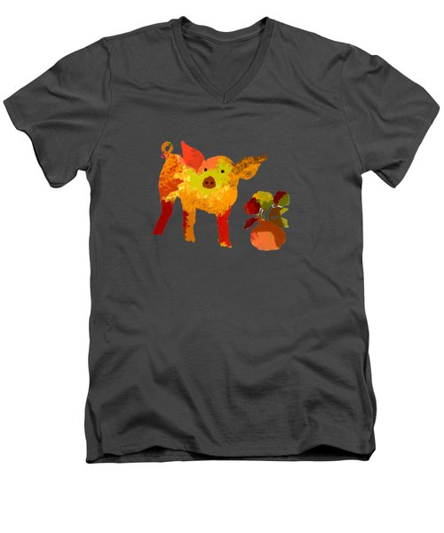 Pretty Pig Men's V-Neck T-Shirt by Holly McGee