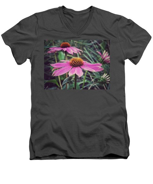 Men's V-Neck T-Shirt featuring the photograph Pretty Pink Flower Parasol by Karen Stahlros