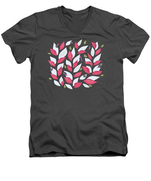 Pretty Plant With White Pink Leaves And Ladybugs Men's V-Neck T-Shirt