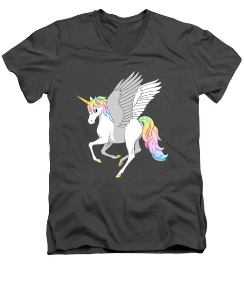 Pretty Rainbow Unicorn Flying Horse Men's V-Neck T-Shirt