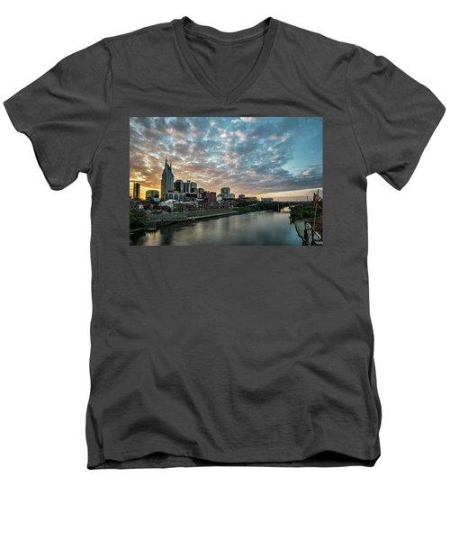 Pretty Sky And Nashville Skyline Men's V-Neck T-Shirt