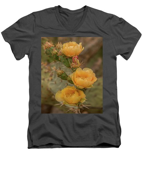 Prickly Pear Blossom Trio Men's V-Neck T-Shirt