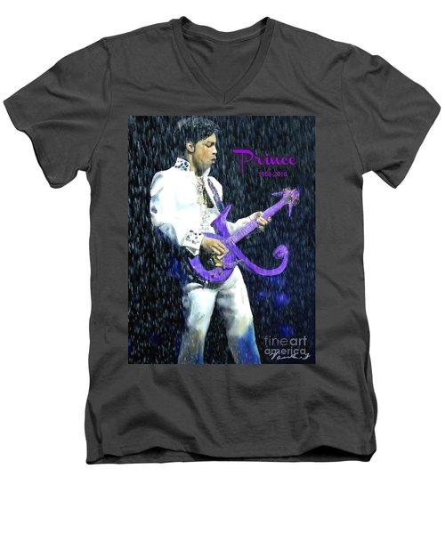 Prince 1958 - 2016 Men's V-Neck T-Shirt by Vannetta Ferguson